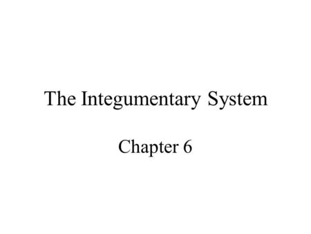 The Integumentary System Chapter 6. Integumentary System Structure –Epidermis –Dermis –Hypodermis Functions of the skin.