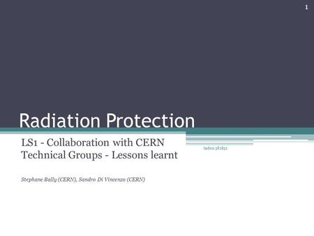 Radiation Protection LS1 - Collaboration with CERN Technical Groups - Lessons learnt Stephane Bally (CERN), Sandro Di Vincenzo (CERN) Indico 382832 1.