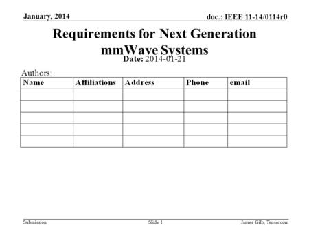 Submission doc.: IEEE 11-14/0114r0 January, 2014 James Gilb, TensorcomSlide 1 Requirements for Next Generation mmWave Systems Date: 2014-01-21 Authors: