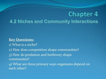 Chapter Niches and Community Interactions