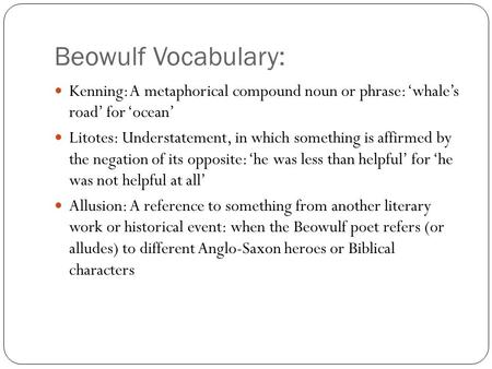 Poetic Devices In Beowulf Ppt Video Online Download