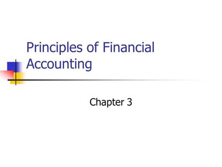 Principles of Financial Accounting Chapter 3 Accounting Equation Assets = Liabilities + SE Stockholder's Equity is divided into: Paid in capital Retained.