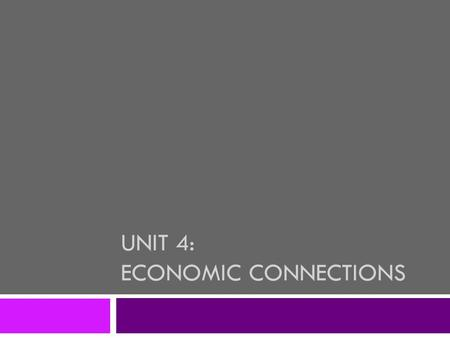 UNIT 4: ECONOMIC CONNECTIONS. Types of Industries  The JOBS that people do can be divided into four categories: 1. Primary Industries 2. Secondary Industries.