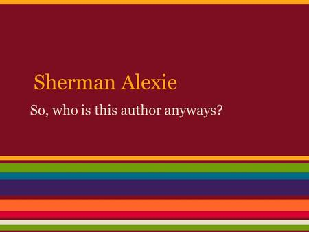 sherman alexie indian killer
