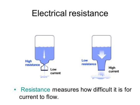 Electrical resistance Resistance measures how difficult it is for current to flow.