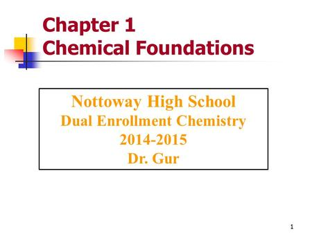 Chapter 1 Chemical Foundations Nottoway High School Dual Enrollment Chemistry 2014-2015 Dr. Gur 1.