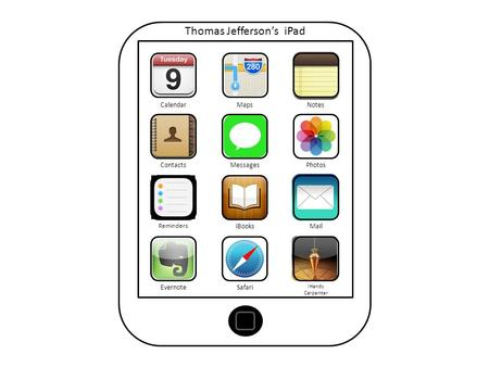 Thomas Jefferson's iPad CalendarMapsNotes ContactsMessagesPhotos Reminders iBooksMail EvernoteSafari iHandy Carpenter.