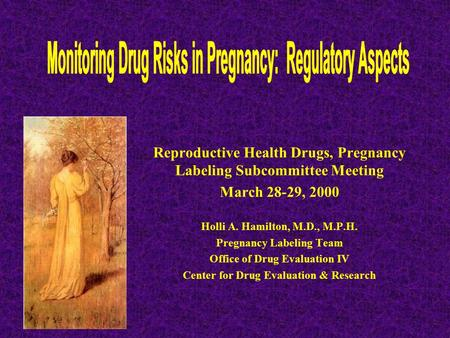 Reproductive Health Drugs, Pregnancy Labeling Subcommittee Meeting March 28-29, 2000 Holli A. Hamilton, M.D., M.P.H. Pregnancy Labeling Team Office of.