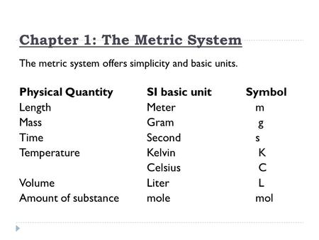 Chapter 1: The Metric System The metric system offers simplicity and basic units. Physical QuantitySI basic unit Symbol LengthMeter m MassGram g TimeSecond.