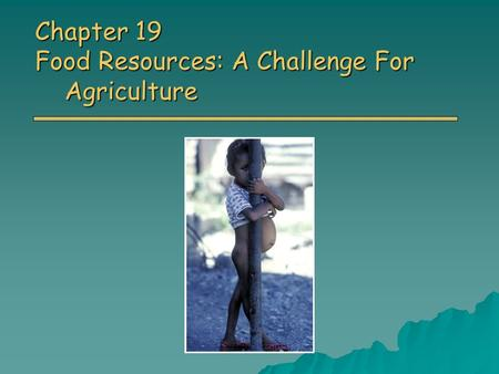 Chapter 19 Food Resources: A Challenge For Agriculture.