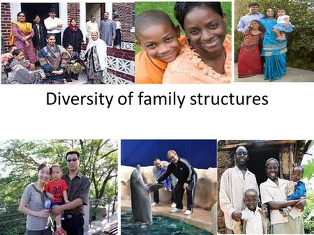 Diversity of family structures. Concepts Reconstituted family: A household from which one biological parent has departed and children live with the other.