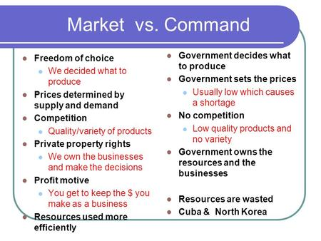 Market vs. Command Freedom of choice We decided what to produce Prices determined by supply and demand Competition Quality/variety of products Private.