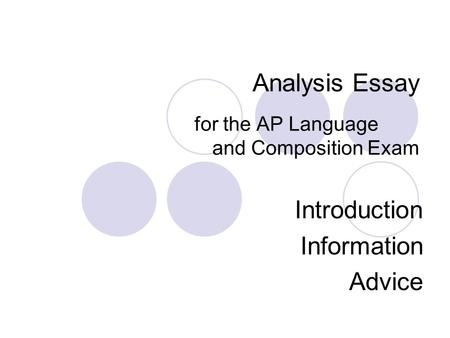 Analysis Essay for the AP Language and Composition Exam Introduction Information Advice.