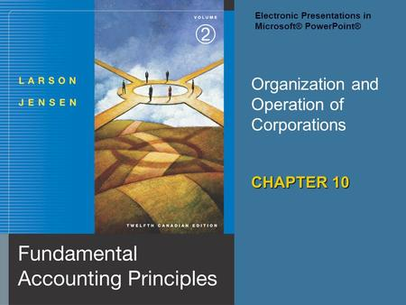 Organization and Operation of Corporations CHAPTER 10 Electronic Presentations in Microsoft® PowerPoint®