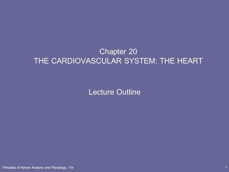 Principles of Human <strong>Anatomy</strong> <strong>and</strong> <strong>Physiology</strong>, 11e1 <strong>Chapter</strong> 20 THE CARDIOVASCULAR SYSTEM: THE HEART Lecture Outline.