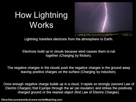 How Lightning Works Lightning transfers electrons from the atmosphere to Earth. Electrons build up in clouds because wind causes them to rub together.