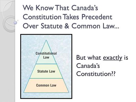 We Know That Canada's Constitution Takes Precedent Over Statute & Common Law... But what exactly is Canada's Constitution??