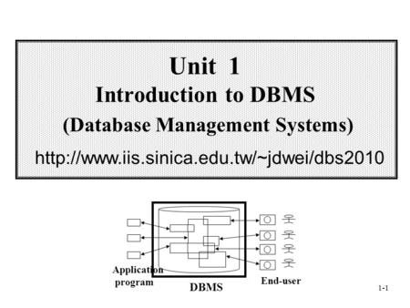 1-1 Unit 1 Introduction to DBMS (Database <strong>Management</strong> Systems) Application program End-user DBMS