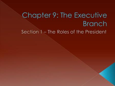  President is the highest elected official › What does the President do?  Heads the executive branch –  Most important duty: