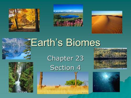 Earth's Biomes Chapter 23 Section 4.