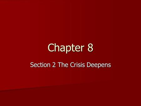 Chapter 8 Section 2 The Crisis Deepens. The Birth of the Republican Party Reaction to Kansas Nebraska Act Reaction to Kansas Nebraska Act –Whigs and Democrats.