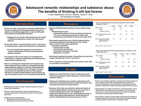 Adolescent romantic relationships and substance abuse: The benefits of thinking it will last forever J. Claire Stephenson, David E. Szwedo, Joseph P. Allen.