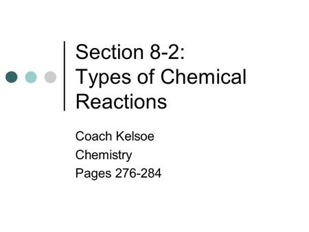 Section 8-2: Types of Chemical Reactions Coach Kelsoe Chemistry Pages 276-284.