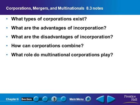 Corporations, Mergers, and Multinationals 8.3 notes