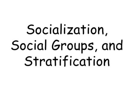 Socialization, Social Groups, and Stratification.