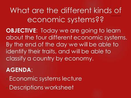 Economics Unit 2 Economic Systems Ppt Download