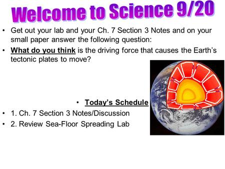Get out your lab and your Ch. 7 Section 3 Notes and on your small paper answer the following question: What do you think is the driving force that causes.