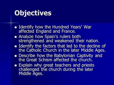 Objectives Identify how the Hundred Years' War affected England and France. Identify how the Hundred Years' War affected England and France. Analyze how.