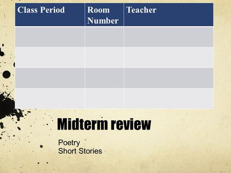 Midterm review Poetry Short Stories Class PeriodRoom Number Teacher.