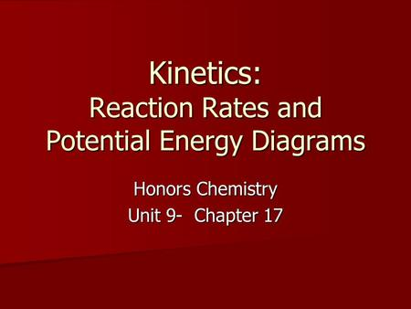 Kinetics: Reaction Rates and Potential Energy Diagrams