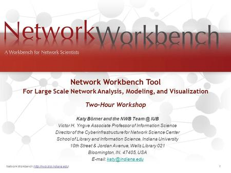 Network Workbench (http://nwb.slis.indiana.edu). 1 Katy Börner and the NWB IUB Victor H. Yngve Associate Professor of Information Science Director.