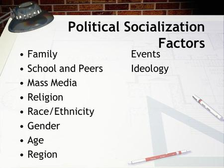 Political Socialization Factors FamilyEvents School and PeersIdeology Mass Media Religion Race/Ethnicity Gender Age Region.