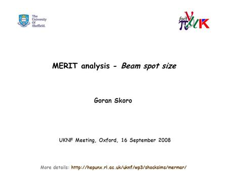 MERIT analysis - Beam spot size Goran Skoro More details:  UKNF Meeting, Oxford, 16 September 2008.