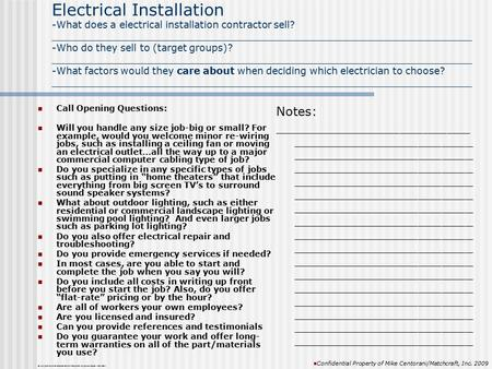 Electrical Installation -What does a electrical installation contractor sell? _____________________________________________________________________ -Who.