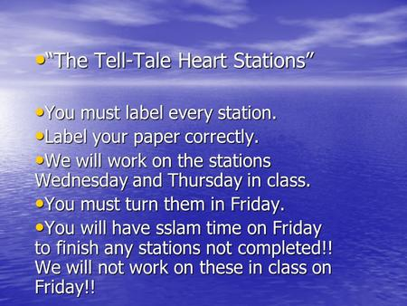 """The Tell-Tale Heart Stations"""