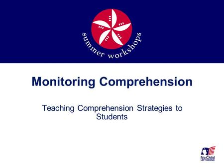 Monitoring Comprehension Teaching Comprehension Strategies to Students.
