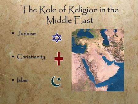 The Role of Religion in the Middle East  Judaism  Christianity  Islam  Judaism  Christianity  Islam.