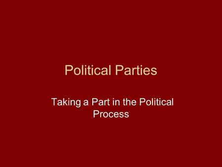Political Parties Taking a Part in the Political Process.