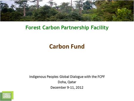 Forest Carbon Partnership Facility Carbon Fund Indigenous Peoples Global Dialogue with the FCPF Doha, Qatar December 9-11, 2012.