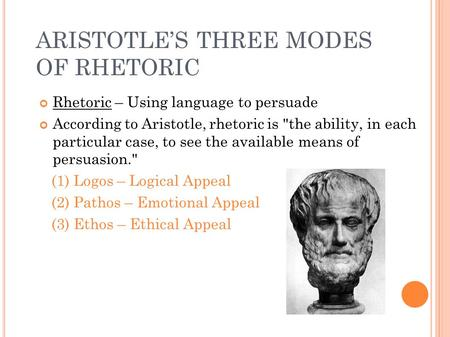 ARISTOTLE'S THREE MODES OF RHETORIC