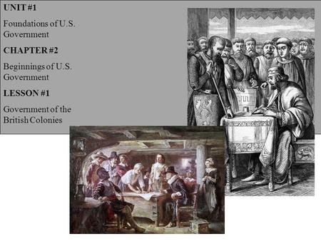 UNIT #1 Foundations of U.S. Government CHAPTER #2 Beginnings of U.S. Government LESSON #1 Government of the British Colonies.