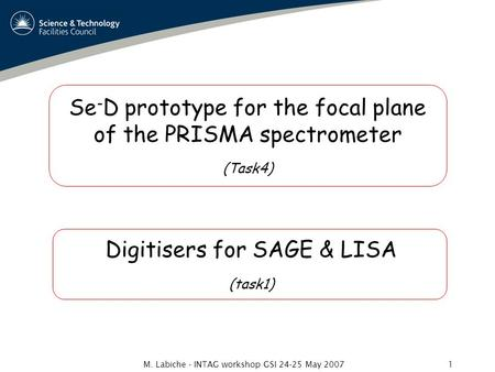 M. Labiche - INTAG workshop GSI 24-25 May 20071 Se - D prototype for the focal plane of the PRISMA spectrometer (Task4) Digitisers for SAGE & LISA (task1)