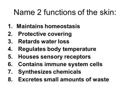 Name 2 functions of the skin: 1.Maintains homeostasis 2. Protective covering 3. Retards water loss 4. Regulates body temperature 5. Houses sensory receptors.