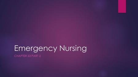 Emergency Nursing CHAPTER 33 PART 2. 2 Clinical Signs of Pain  Vocalization  Depression  Anorexia  Tachypnea  Tachycardia  Abnormal blood pressure.