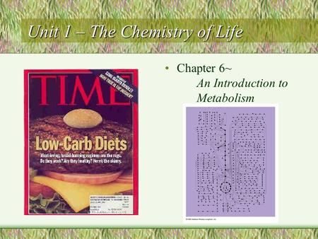 Unit 1 – The Chemistry of Life Chapter 6~ An Introduction to Metabolism.