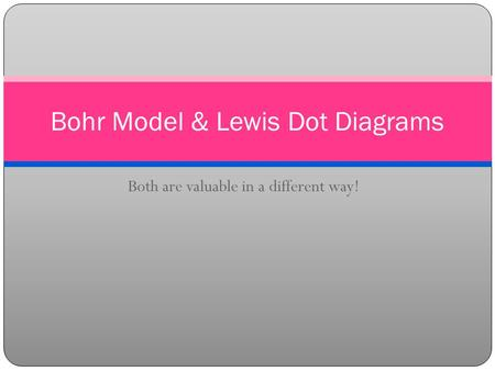 Both are valuable in a different way! Bohr Model & Lewis Dot Diagrams.